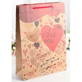 Бумажный пакет с сердечками - 24 х 33 см.