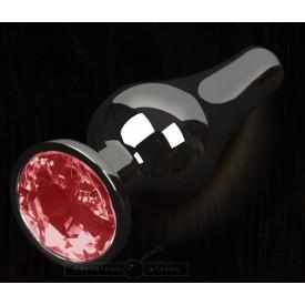 Графитовая удлиненная анальная пробка с красным кристаллом - 12 см.