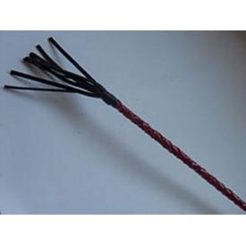 Длинный плетённый стек с наконечником-кисточкой и красной рукоятью - 85 см.